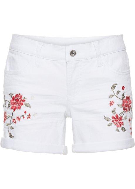 Schöne Jeans-Shorts mit Stickerei und Umschlagsaum - white denim 9a9377b29f
