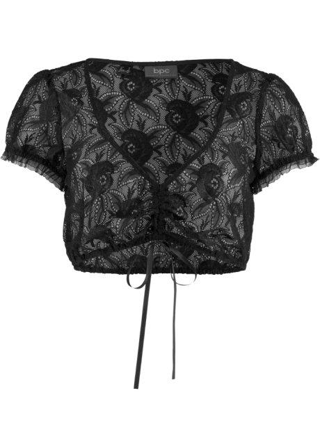 830af4bd0d77 Attraktive Dirndl-Bluse mit Tunnelzug - schwarz