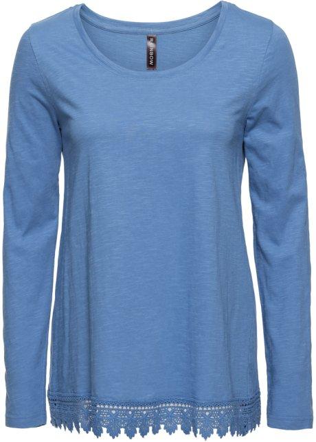 Lockeres Shirt mit gehäkeltem Saum - kristallblau 4cfe8725a0