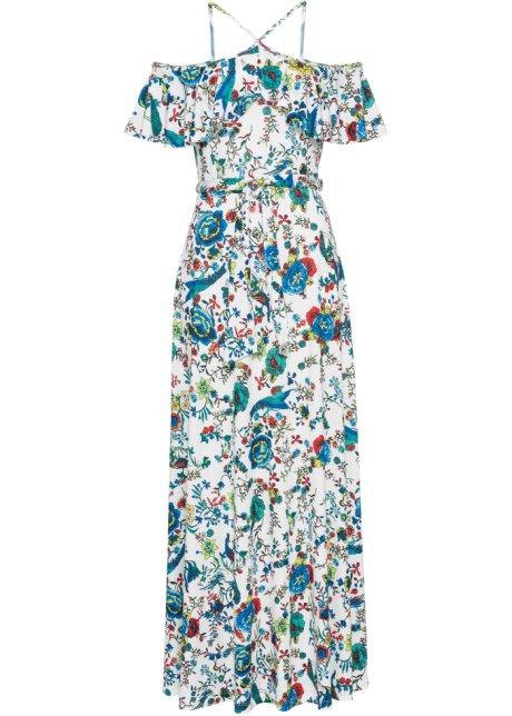 2d884d4bc36 Kleid mit Volant weiß blau grün gemustert - BODYFLIRT boutique ...