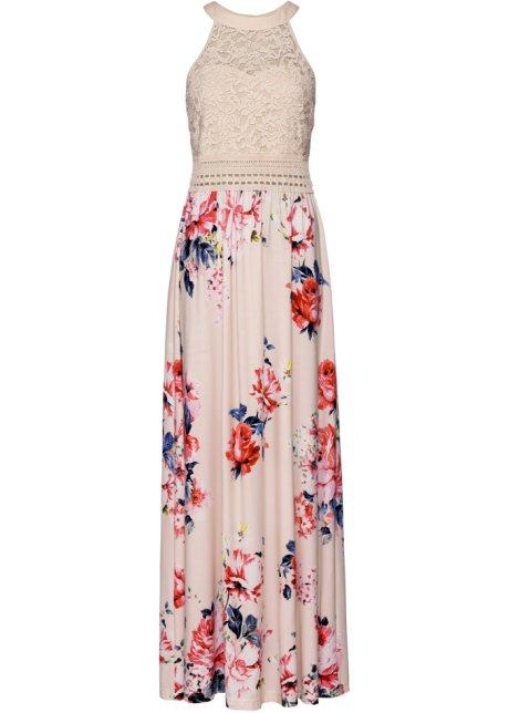Kleid mit spitzenoberteil lang