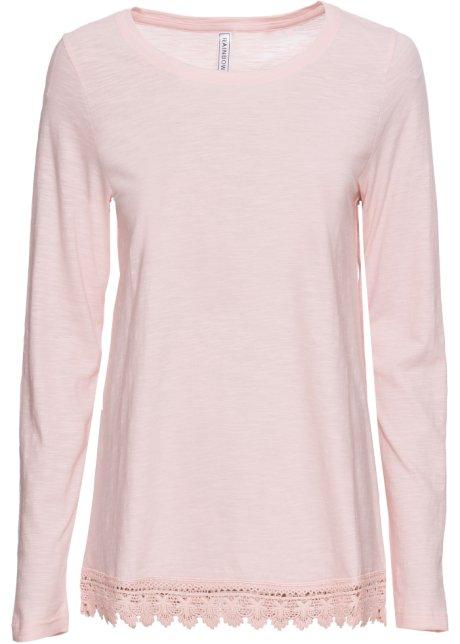 Lockeres Shirt mit gehäkeltem Saum - zartrosa dddaf30093