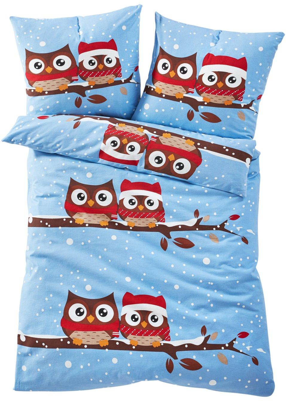 wintereule ist eine tolle bettw sche f r gro und klein blau linon. Black Bedroom Furniture Sets. Home Design Ideas