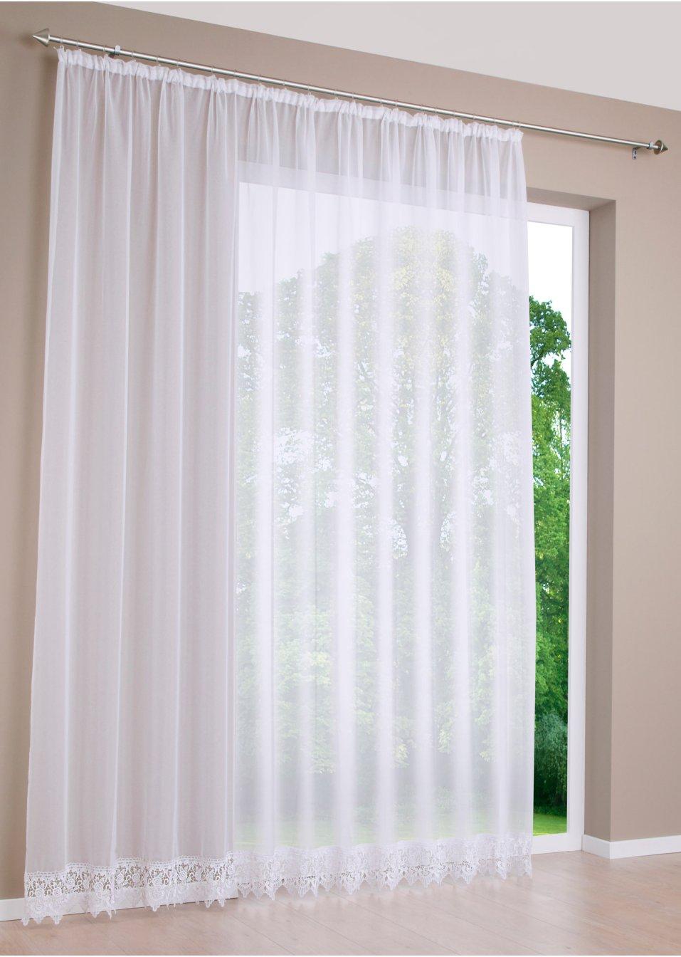 transparenter store mit dekorativer spitzenkante weiss