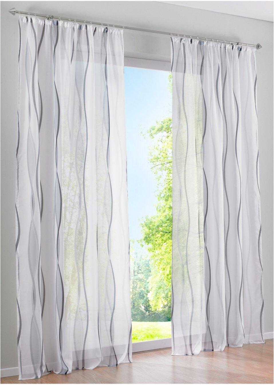 Vorhänge Weiß Grau : transparente gardine in zeitlosem design weiss grau kr uselband ~ Watch28wear.com Haus und Dekorationen