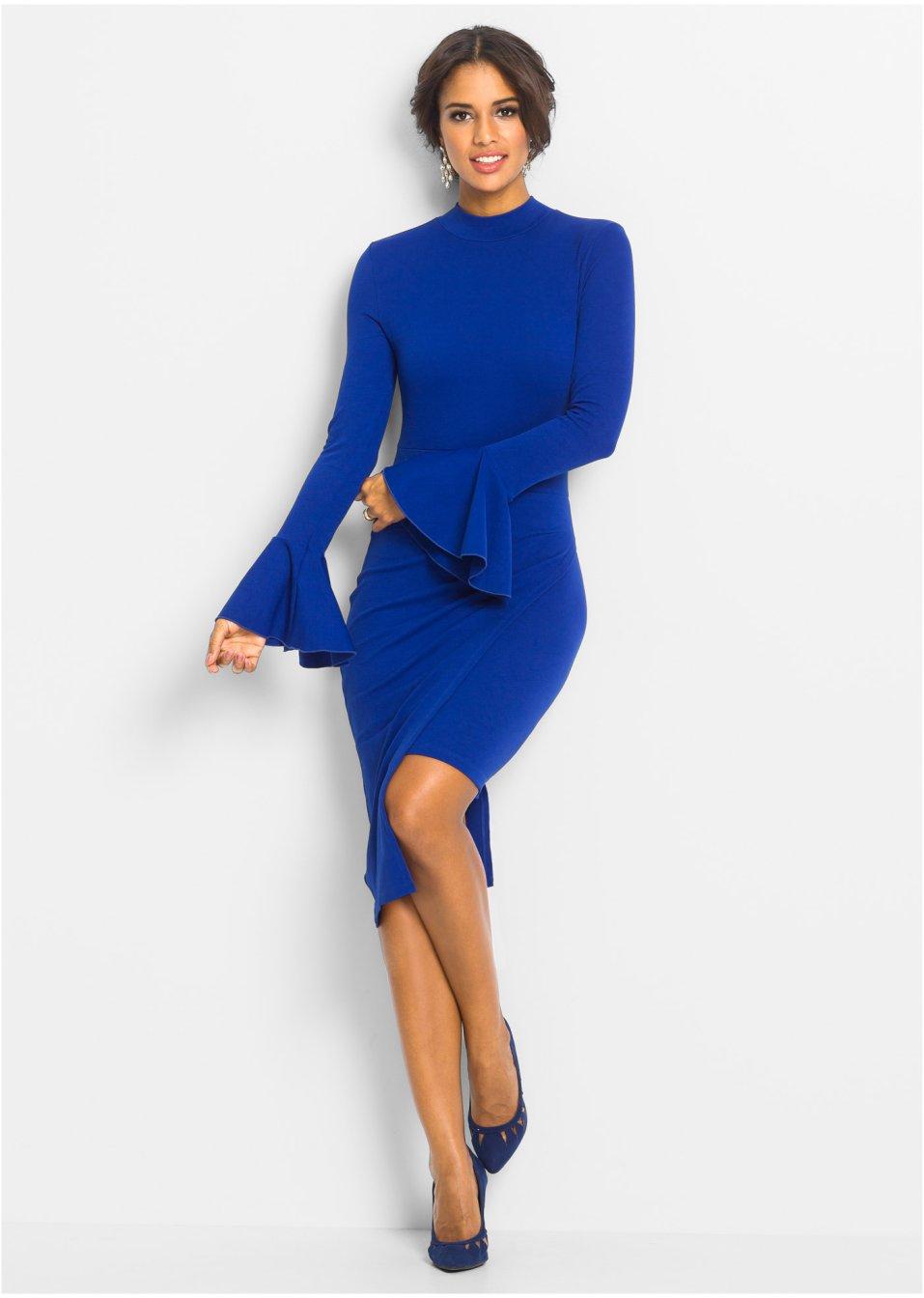 Kleid mit Trompetenärmel blau - Damen - BODYFLIRT boutique ...