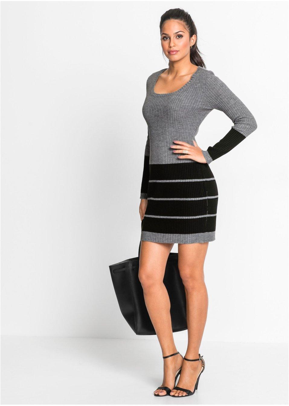 0eca64af5512a2 Zweifarbiges Strickkleid mit Streifen - grau meliert/schwarz