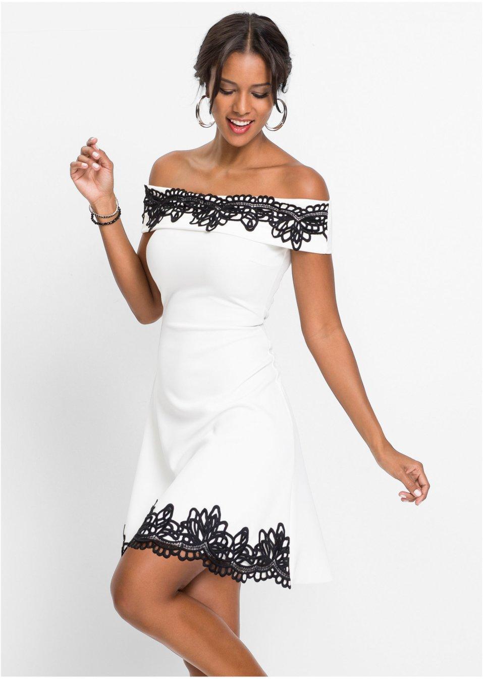 Kleid mit Spitze weiss twill/schwarz - online bestellen ...