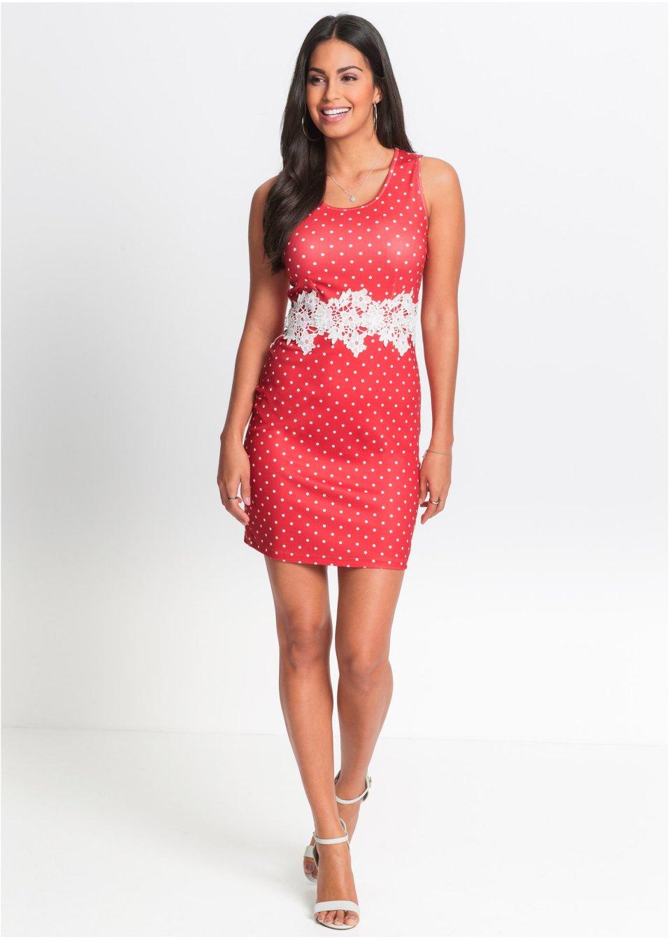 Kleid aus Jersey-Crepe mit Spitze erdbeere/wollweiß ...