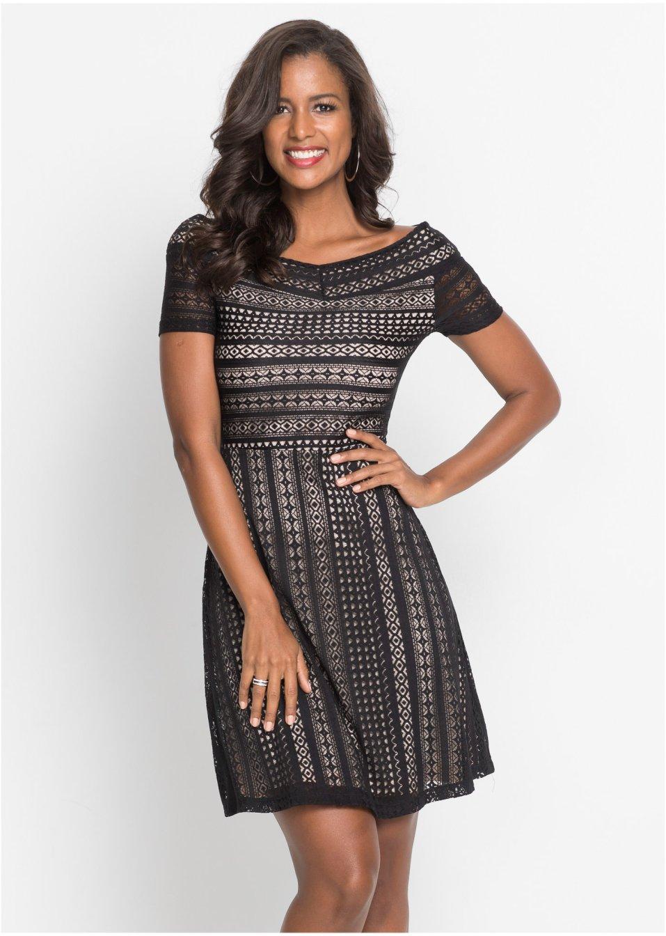 Kleid mit Spitze schwarz - Damen - bonprix.at