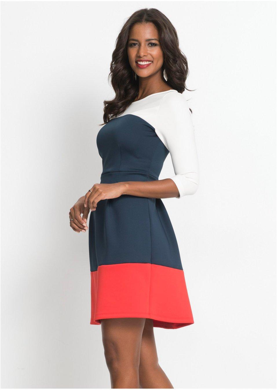 Kleid blau/weiß/rot - BODYFLIRT boutique - bonprix.at