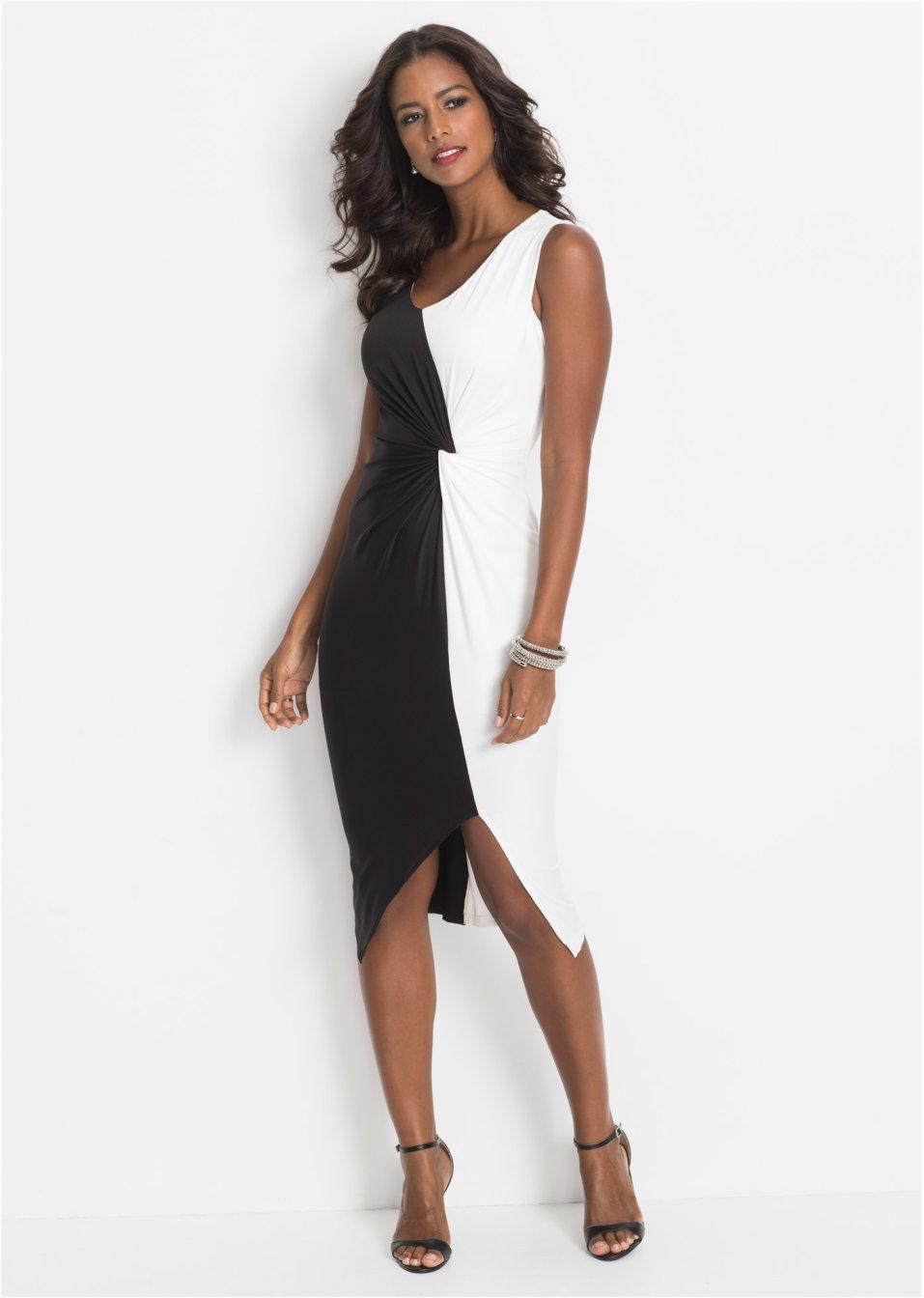 Kleid mit Knotendetail schwarz/weiß - BODYFLIRT boutique ...
