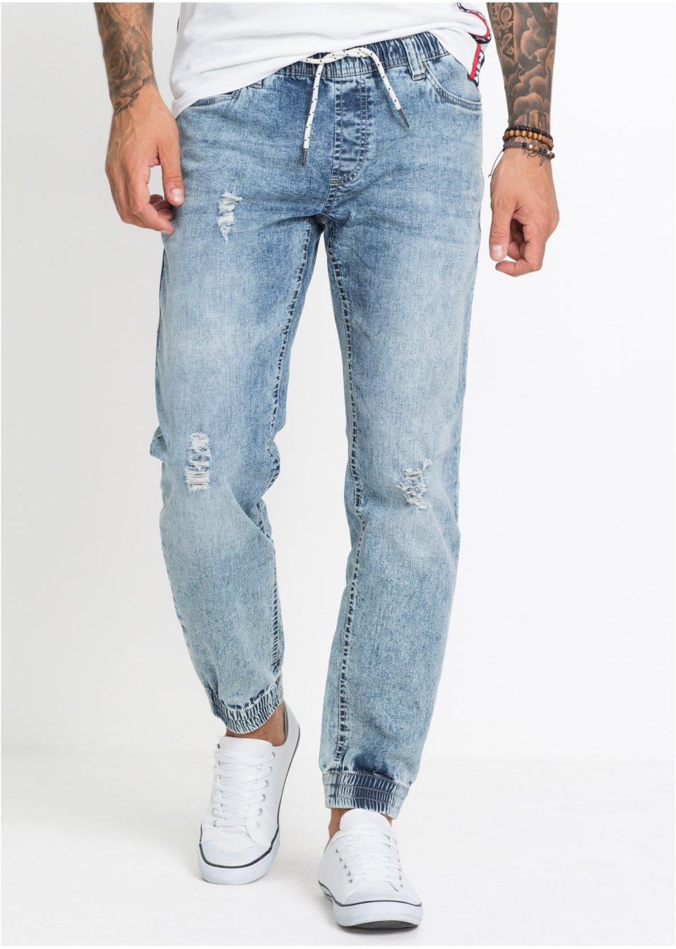 Ausdrucksstarke Schlupf-Jeans mit Bündchen und Used-Effekten - blau 3734913518