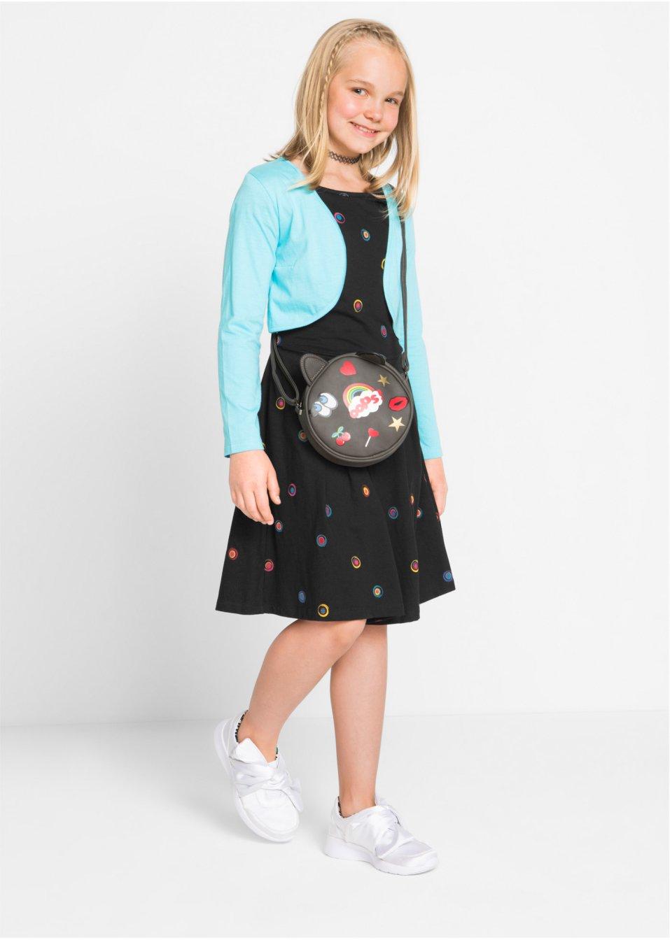 90430f1b3dad03 Gepunktetes Kleid mit dazu passender Bolerojacke - türkis/schwarz