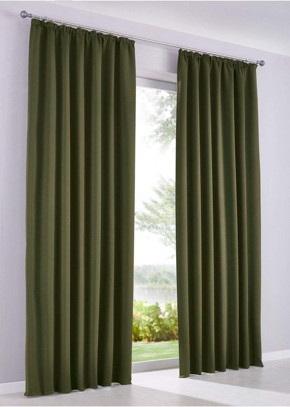 vorhang verdunkelung 1er pack kr uselband oliv online bestellen. Black Bedroom Furniture Sets. Home Design Ideas