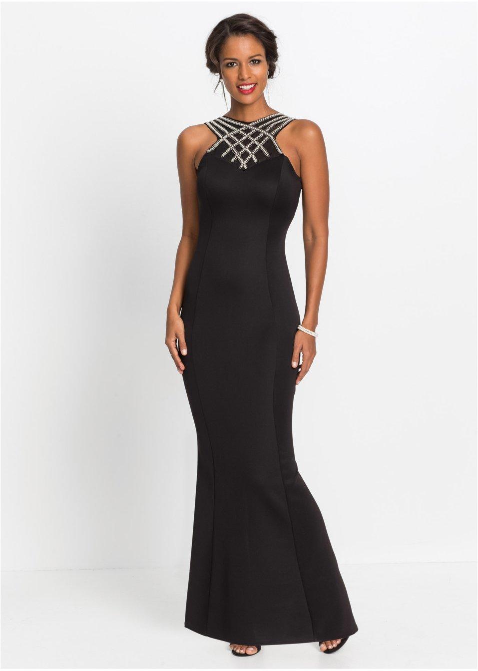 Abendkleid mit Perlen schwarz - BODYFLIRT boutique online ...