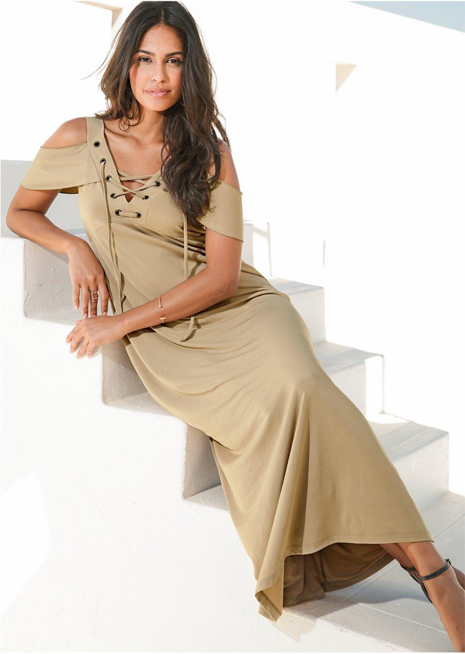 Kleid mit Schnürung new beige - BODYFLIRT online kaufen ...