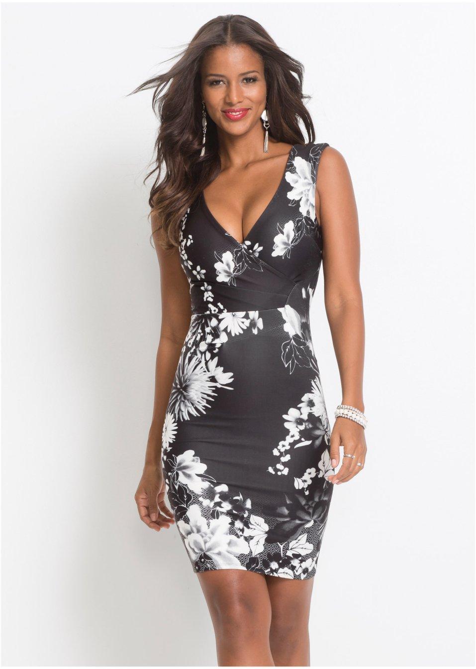 Kleid mit Blumenprint schwarz/weiß - Damen - bonprix.at