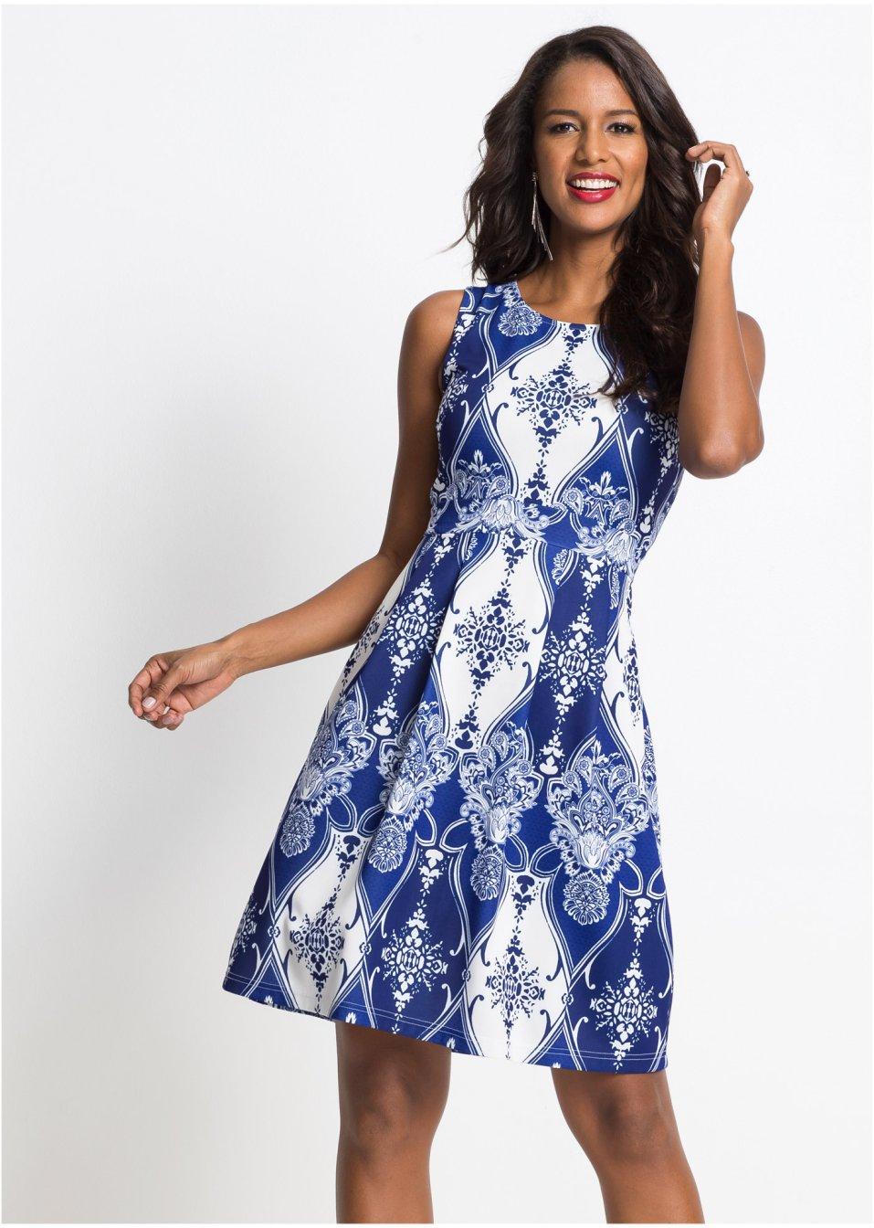 Schickes Kleid mit elegantem Allover-Muster - blau/weiß ...