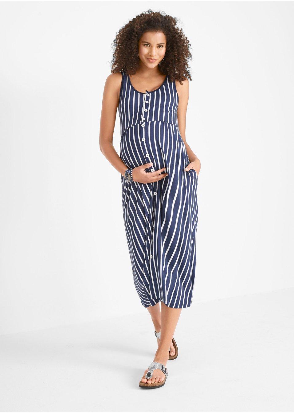 Jersey-Stillkleid / Jersey-Umstandskleid, gestreift