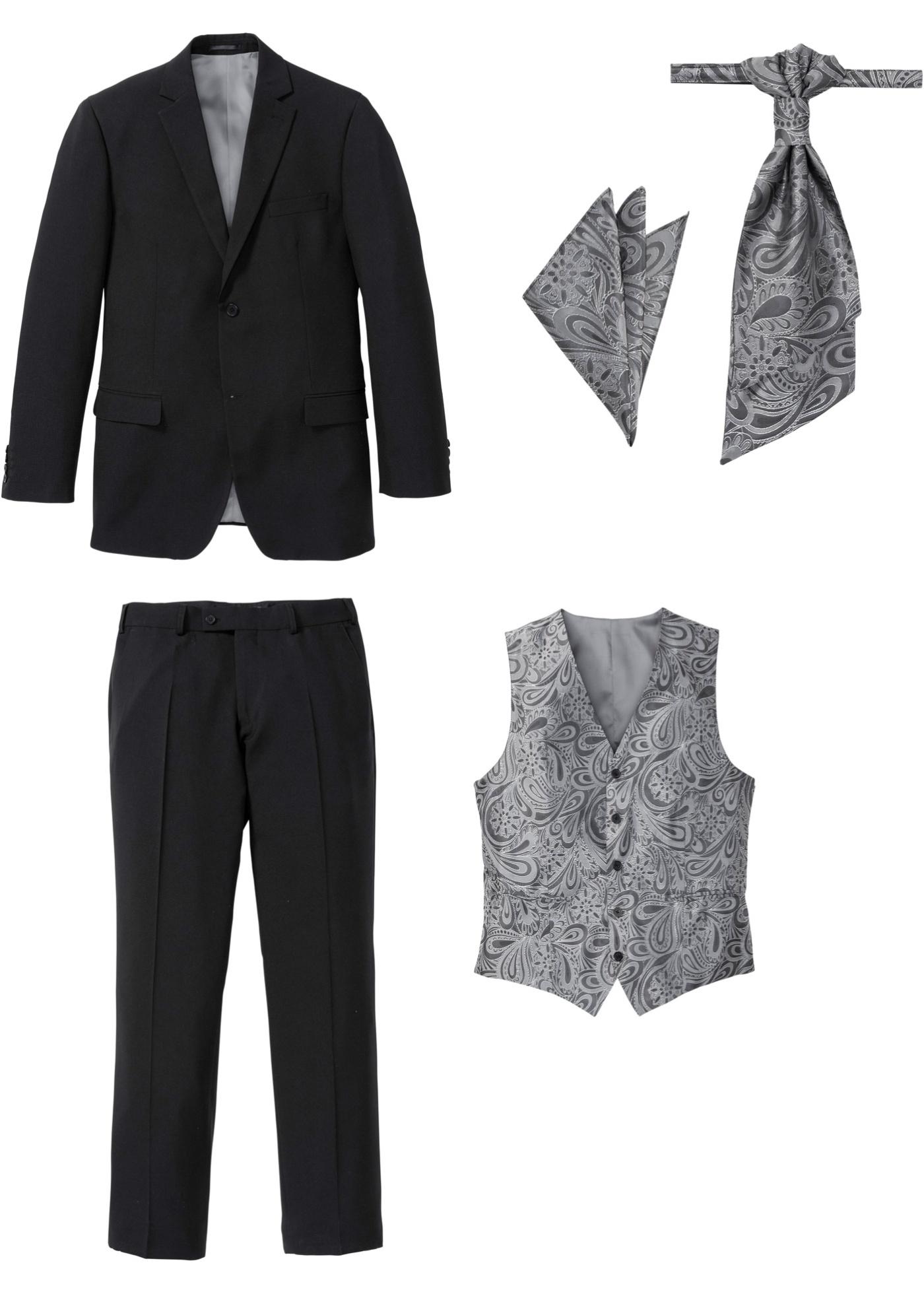Anzug (5-tlg. Set): Sakko, Hose, Weste, Plastron, Einstecktu