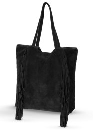 Ledershopper mit Fransen, bpc bonprix collection, schwarz