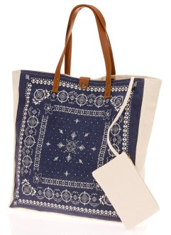 Canvas Shopper mit Ornamenten, bpc bonprix collection, blau/weiß