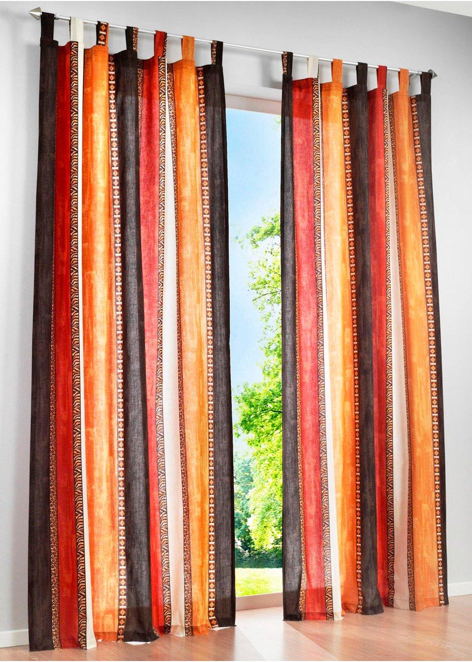 halbtransparenter vorhang ethno im modernen blockstreifen look terra schlaufen 1er pack. Black Bedroom Furniture Sets. Home Design Ideas