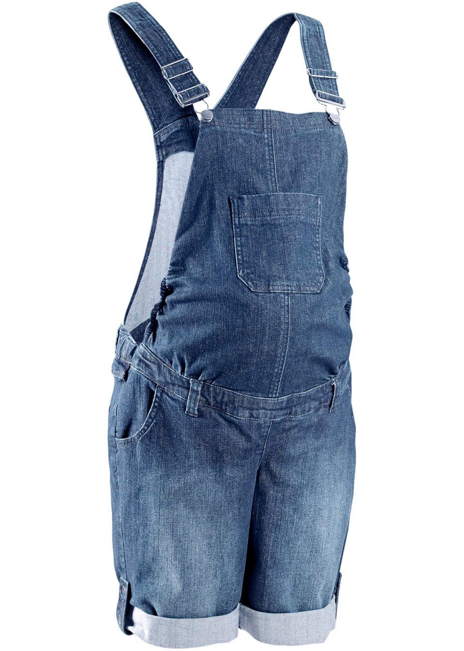 sommerliche latzhose als jeansshorts f r schwangere blue. Black Bedroom Furniture Sets. Home Design Ideas