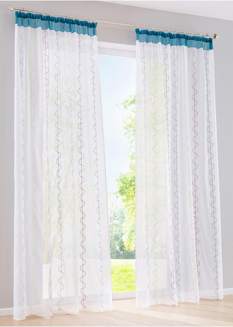 gardine merle 1er pack kr uselband wei bunt online kaufen. Black Bedroom Furniture Sets. Home Design Ideas