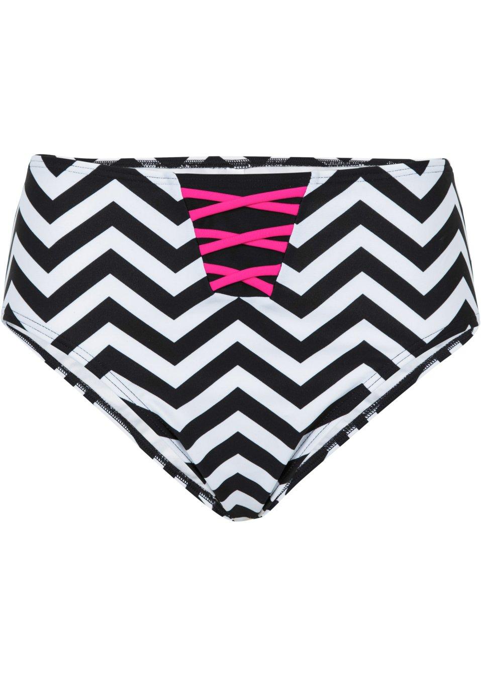 stylishe bikinihose in high waist form schwarz wei. Black Bedroom Furniture Sets. Home Design Ideas