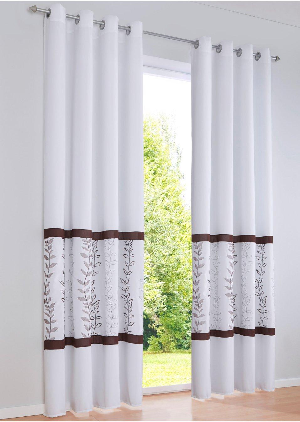 Vorhang edita 1er pack sen gr n braun online for Bonprix vorhang