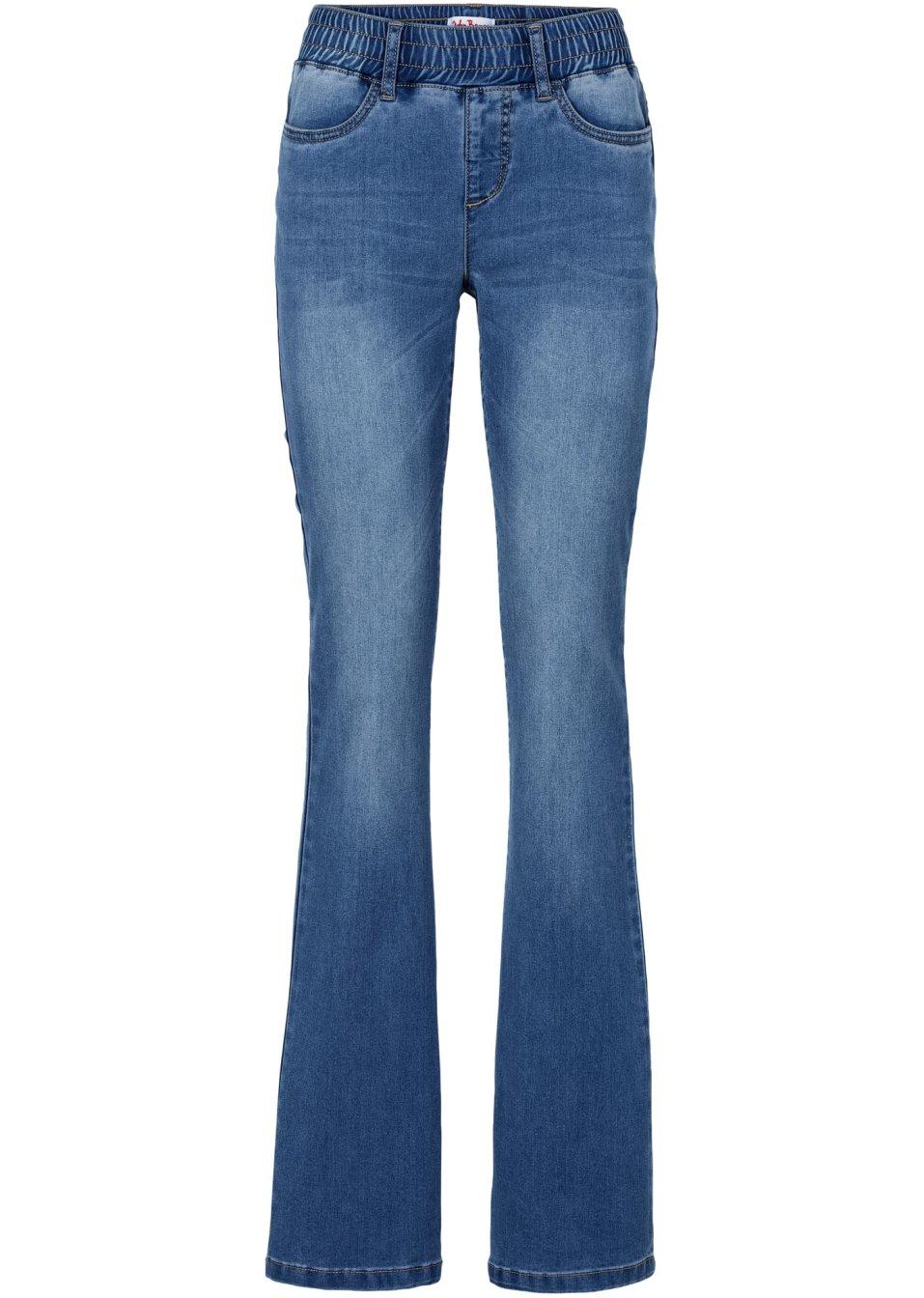 bequeme power stretch bootcut jeans mit gummibund blau. Black Bedroom Furniture Sets. Home Design Ideas