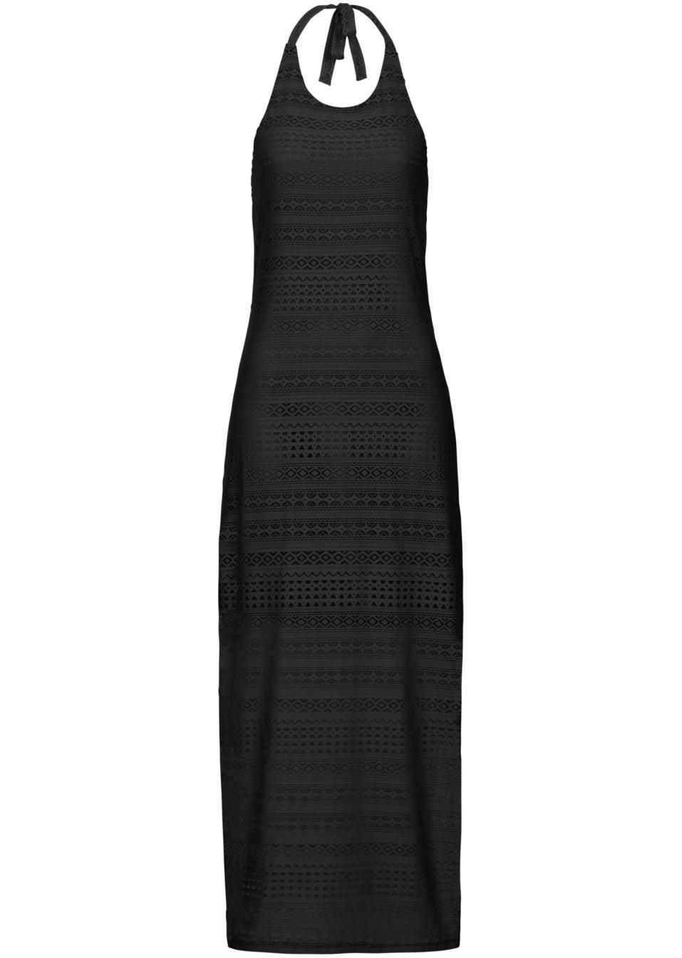 aufregendes maxi kleid mit transparentem rock schwarz. Black Bedroom Furniture Sets. Home Design Ideas