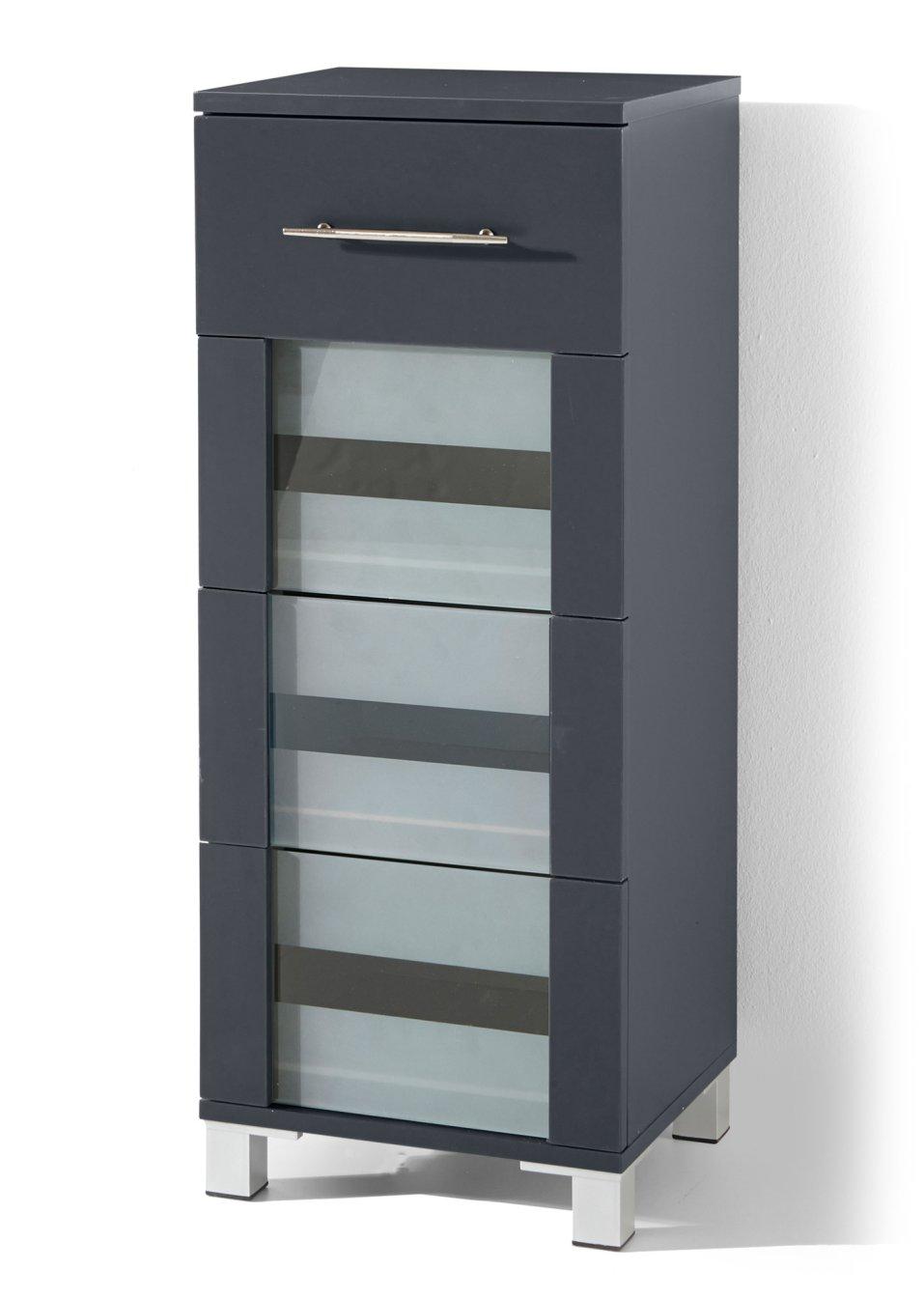 moderner badezimmer schrank mit gefrosteten glaseins tzen anthrazit mit 4 schubladen. Black Bedroom Furniture Sets. Home Design Ideas