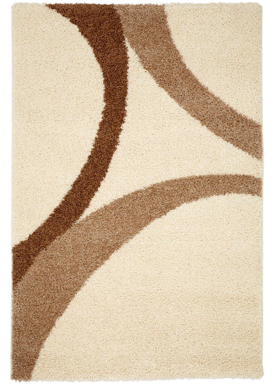 kuschlig weicher teppich mit extra hohem flor und modernem muster natur. Black Bedroom Furniture Sets. Home Design Ideas