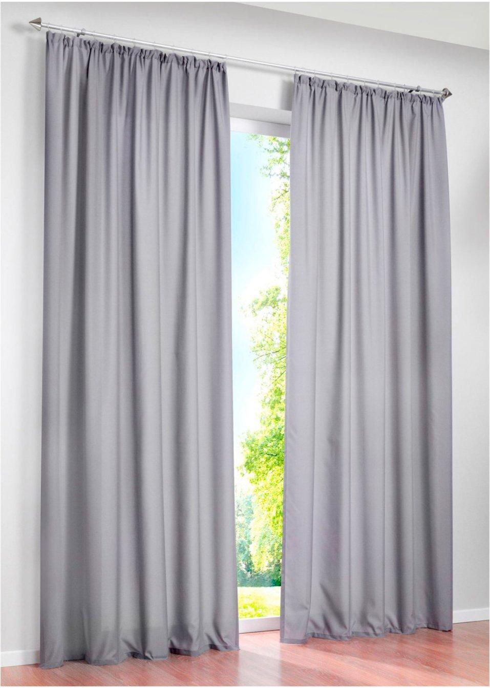 einfach sch n unifarbener vorhang zur dezenten gestaltung ihres wohnraums silber kr uselband. Black Bedroom Furniture Sets. Home Design Ideas