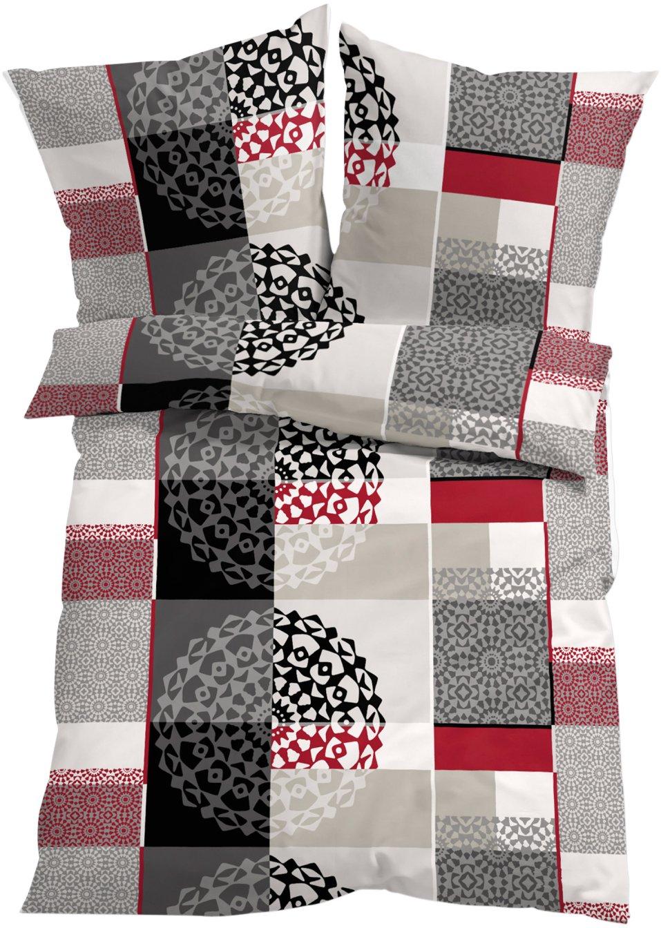 tessa ist eine moderne bettw sche rot grau linon. Black Bedroom Furniture Sets. Home Design Ideas