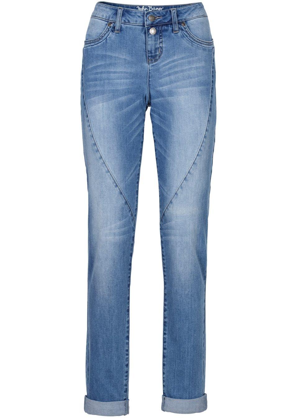 vielseitige boyfriend jeans mit teilungsnaht mittelblau. Black Bedroom Furniture Sets. Home Design Ideas
