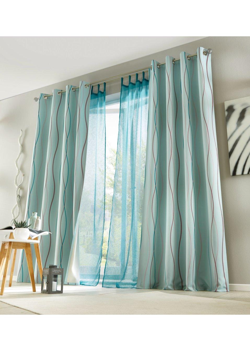 gardine gabby 1er pack schlaufen t rkis wohnen. Black Bedroom Furniture Sets. Home Design Ideas