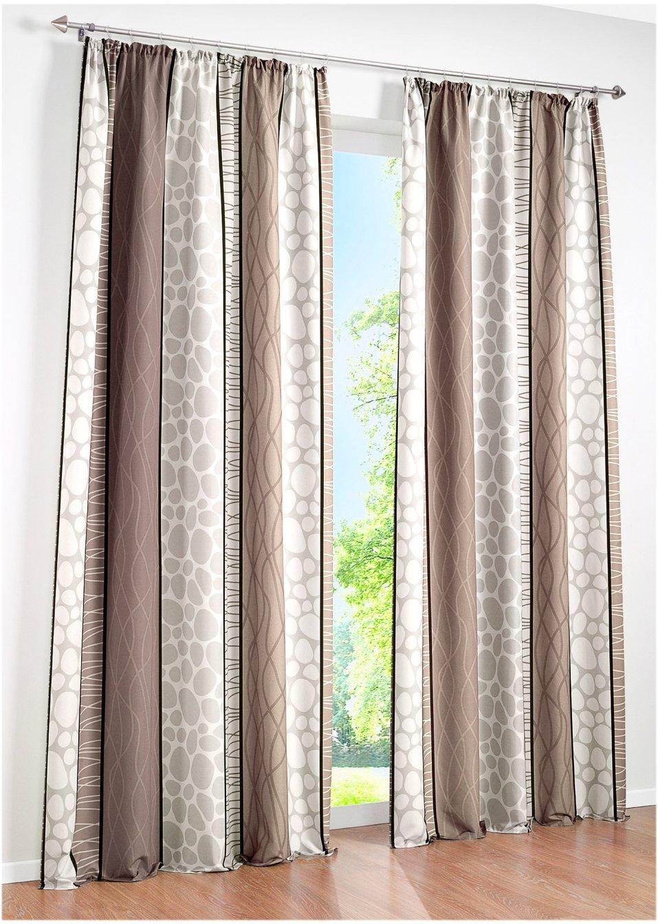 sch nes und zeitloses design mit dem bedruckten vorhang estelle taupe kr uselband 1er pack. Black Bedroom Furniture Sets. Home Design Ideas