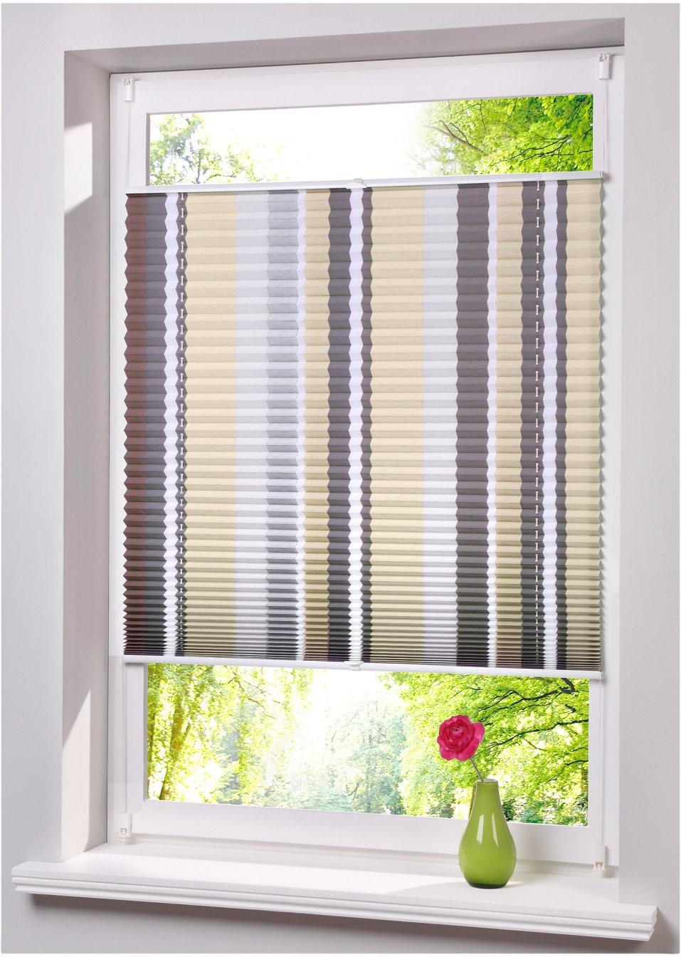 ohne bohren und schrauben angebracht das plissee streak natur klemmfix 1er pack. Black Bedroom Furniture Sets. Home Design Ideas