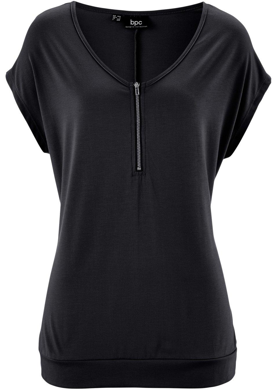 locker sitzendes t shirt mit rei verschluss am ausschnitt schwarz. Black Bedroom Furniture Sets. Home Design Ideas