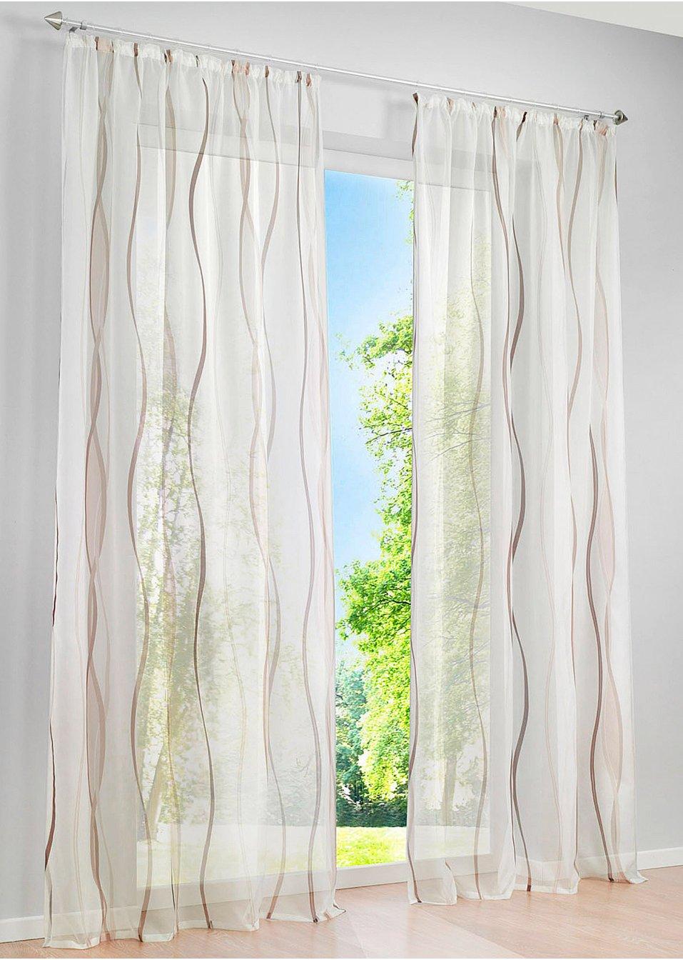 luftig leichte gardine vienna in transparenter optik creme braun kr uselband 1er pack. Black Bedroom Furniture Sets. Home Design Ideas