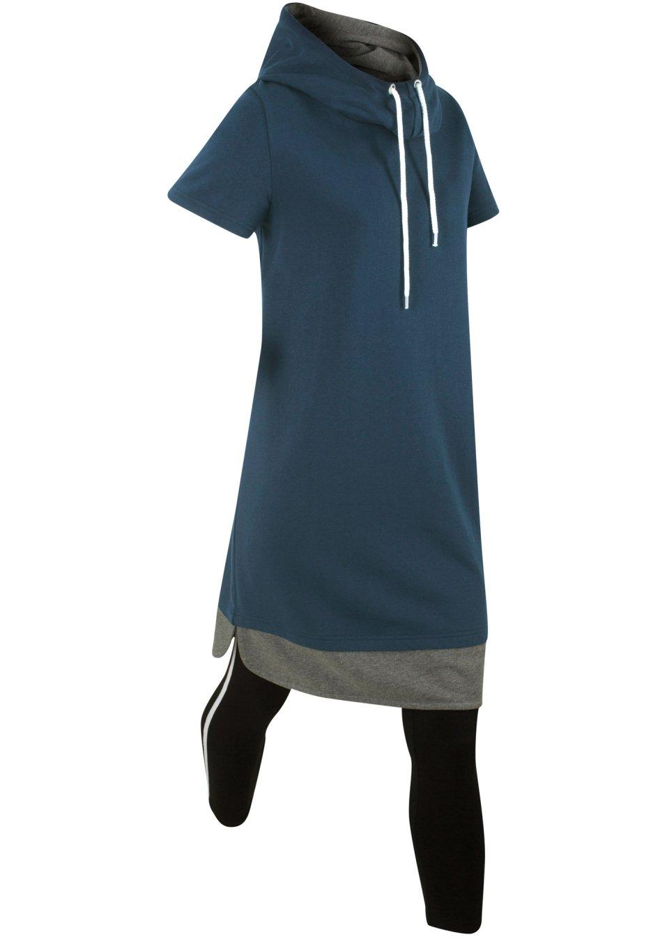 legeres kleid mit passender leggings dunkelblau. Black Bedroom Furniture Sets. Home Design Ideas