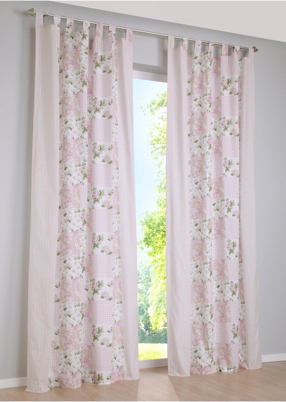 Vorhang lara 1er pack schlaufen rosa wohnen bpc for Bonprix vorhang