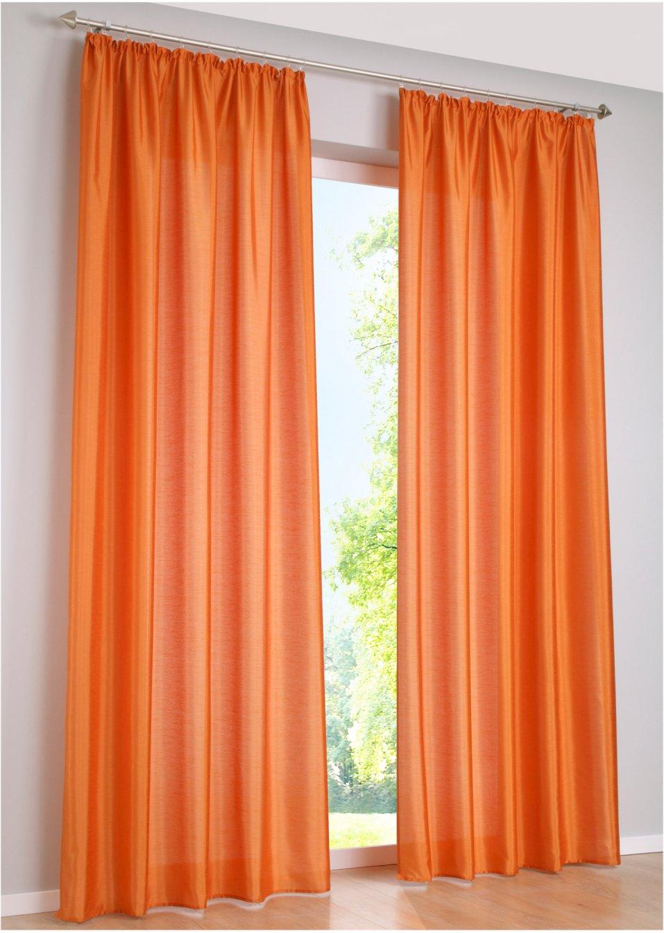 Vorhang xenia 1er pack kr uselband orange online for Bonprix vorhang