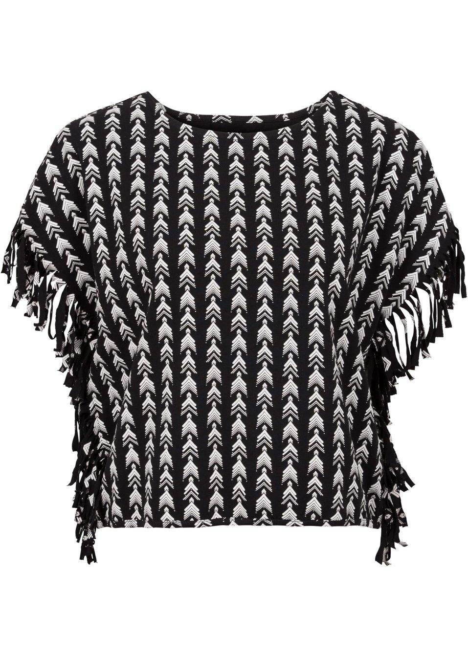kurzes shirt mit fransen schwarz bedruckt. Black Bedroom Furniture Sets. Home Design Ideas