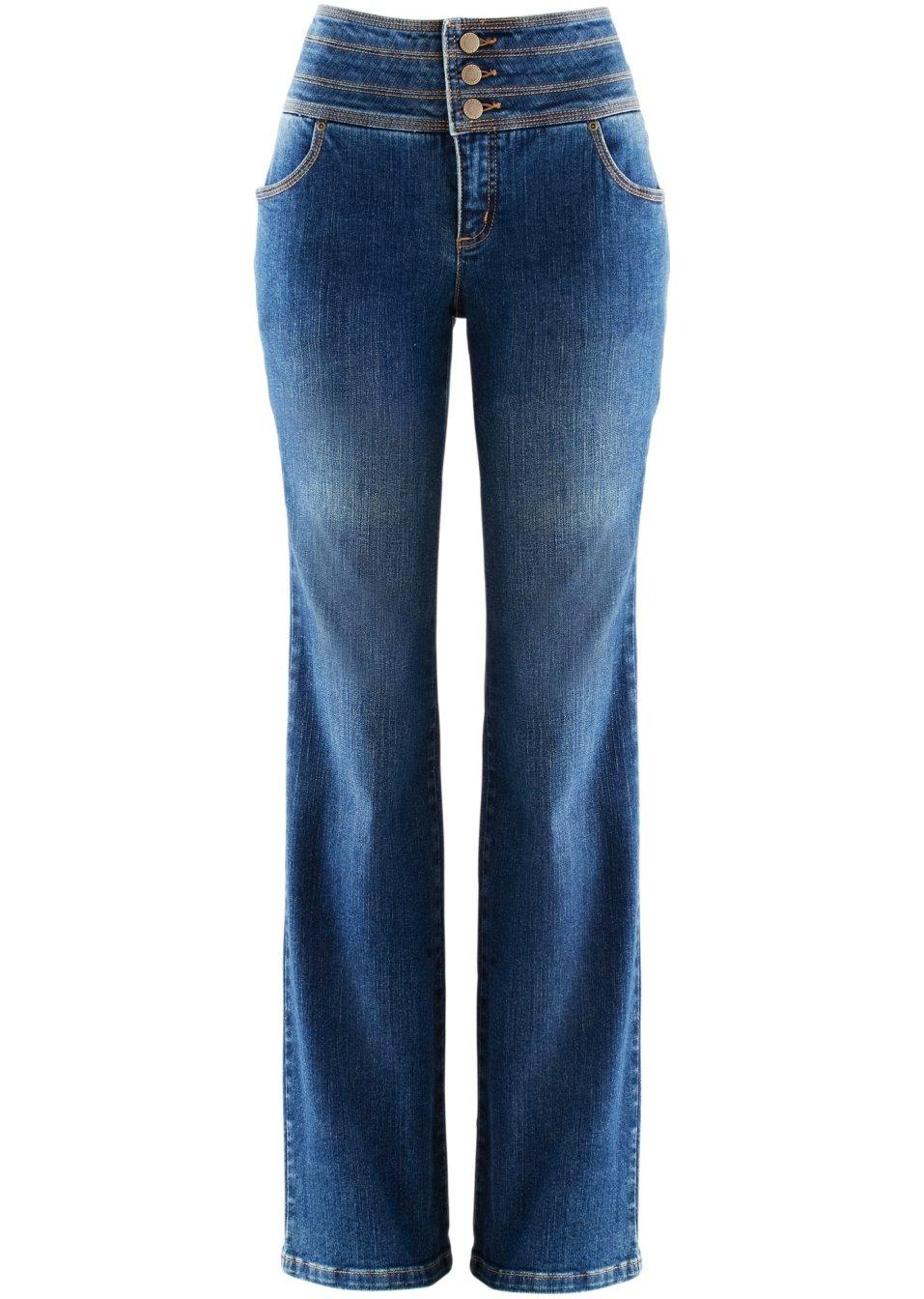 bequeme power stretch jeans mit breitem bund dunkelblau. Black Bedroom Furniture Sets. Home Design Ideas
