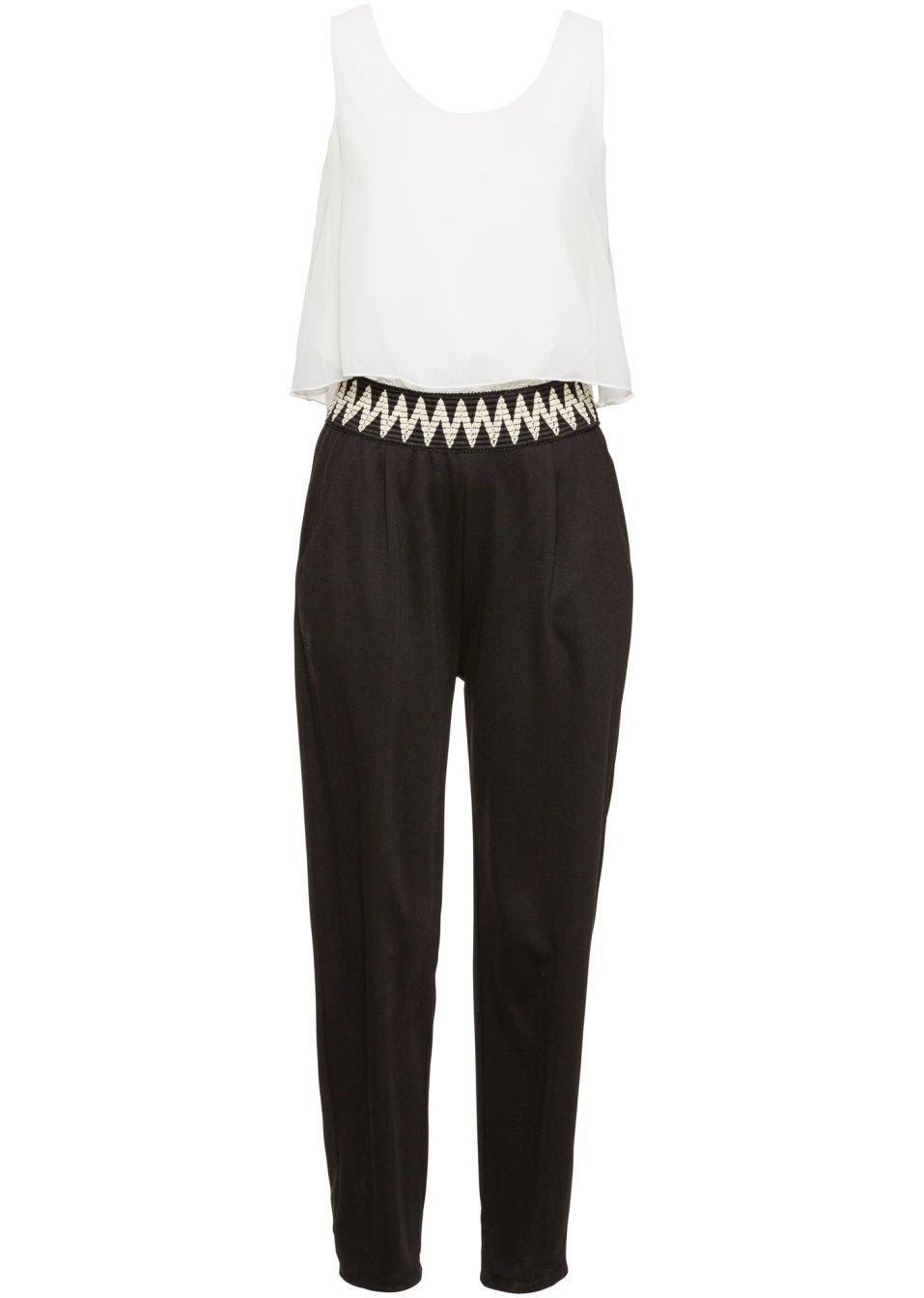 rmelloser jumpsuit mit stickerei und elastischem bund. Black Bedroom Furniture Sets. Home Design Ideas